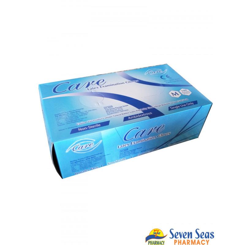 CARE LATEX EXAMINATION GLV MEDIUM (1X100)